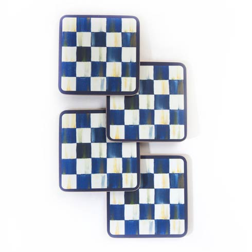 MacKenzie-Childs Royal Check Tabletop Cork Back Coasters - Set Of 4 $32.00