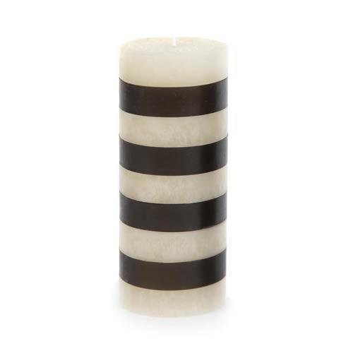 "$32.00 Bands Pillar Candle - 6"" - Black & White"