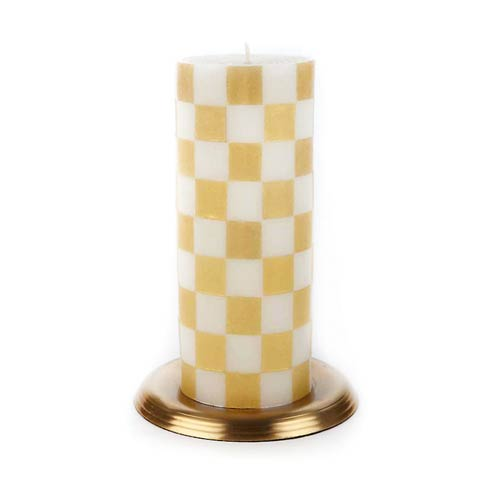 """$35.00 Checker Pillar Candle - 6"""" - Gold"""