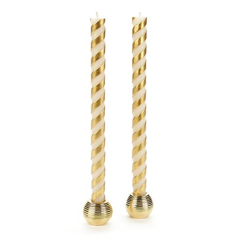 $25.00 Candy Cane Dinner Candles - Gold - Set Of 2