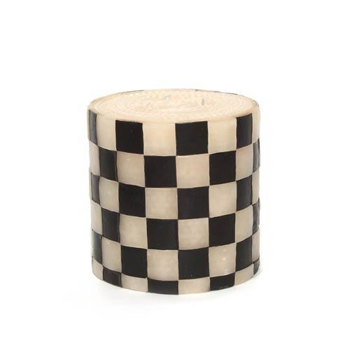 "$48.00 Checker Pillar Candle - 5"" - Black & White"