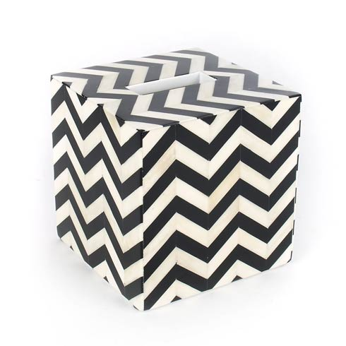 $175.00 Boutique Tissue Box Holder - Black & Ivory