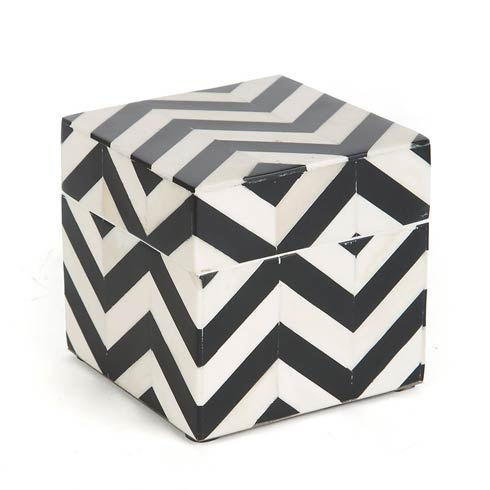 $85.00 Lidded Box - Black & Ivory