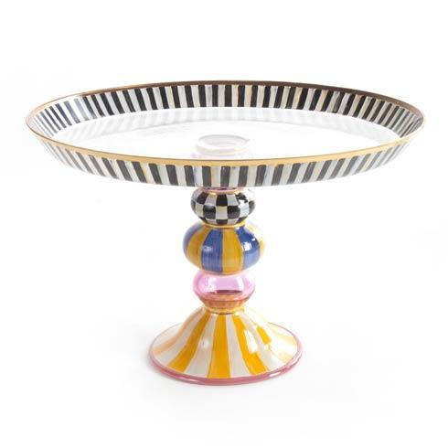 MacKenzie-Childs  Glass Striped Awning Cake Stand $195.00