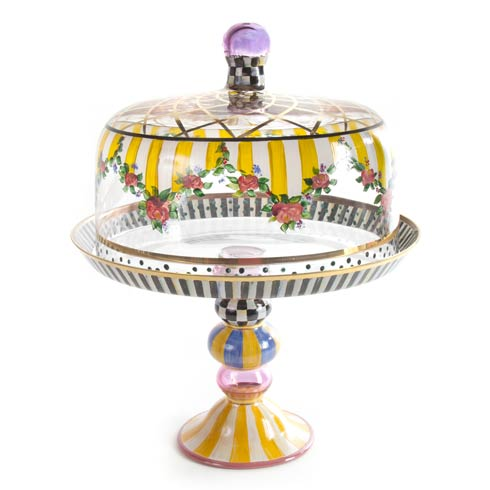 MacKenzie-Childs  Glass Striped Awning Cake Dome & Stand Set $550.00