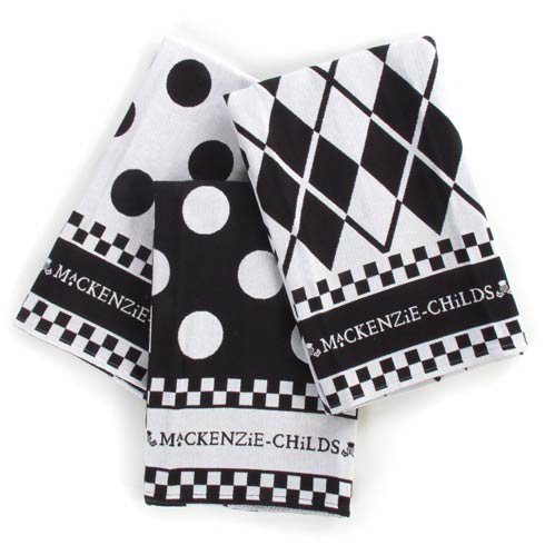 $38.00 Black & White Dot Dish Towels - Set of 3