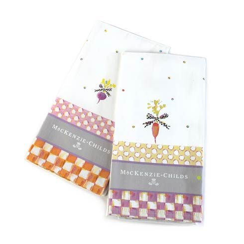 $30.00 Dotty Veggie Dish Towels - Set Of 2