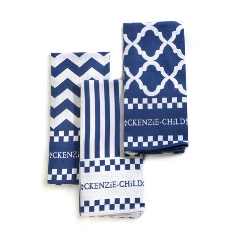 $40.00 Blue & White Zig Zag Dish Towels - Set Of 3