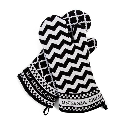 $45.00 Black & White Zig Zag Oven Mitts - Set Of 2