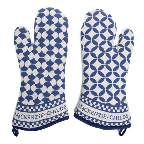 $50.00 Geo Oven Mitts - Royal - Set of 2