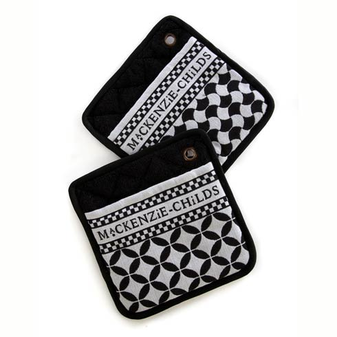 MacKenzie-Childs  Geo Pot Holders - Black - Set Of 2 $28.00