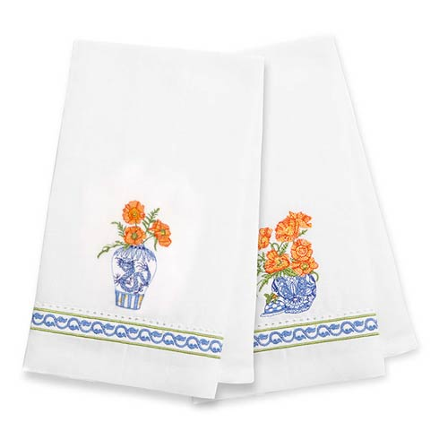 $35.00 Ming Poppies Guest Towels - Set of 2