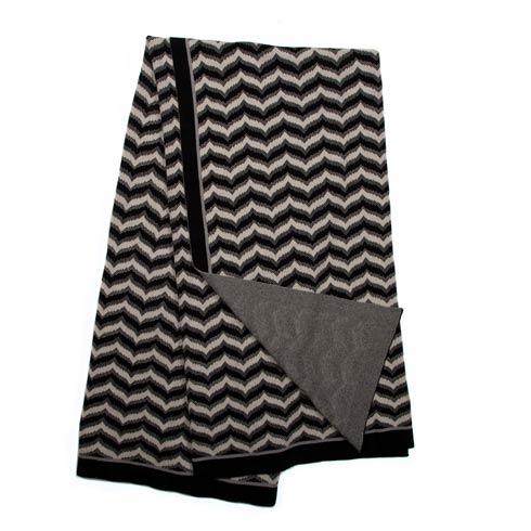 $115.00 Flamestitch Throw - Black & Ivory