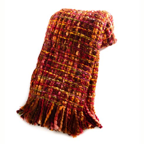 $128.00 Basket Weave Throw - Cranberry