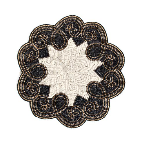 $38.00 Arabesque Beaded Placemat - Black