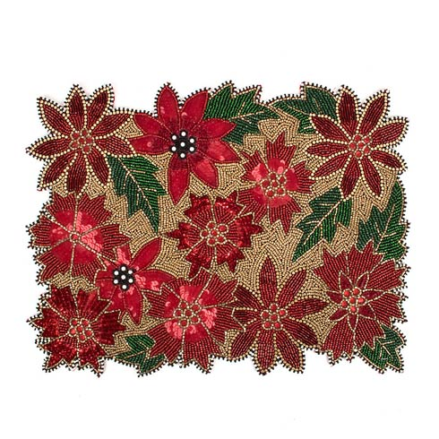 $35.00 Poinsettia Beaded Placemat