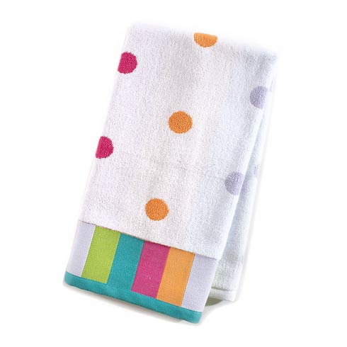$22.00 Dot Hand Towel - White