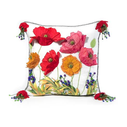 $295.00 Red Poppy Square Pillow