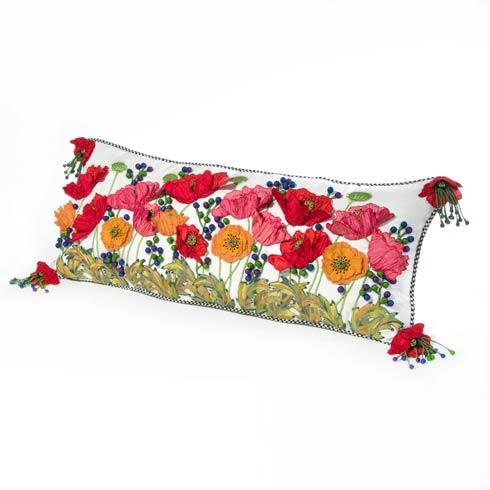 $395.00 Red Poppy Lumbar Pillow