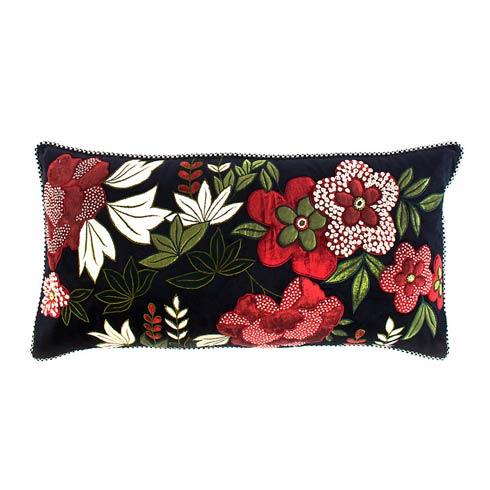 $175.00 Bluetopia Plum Garden Lumbar Pillow