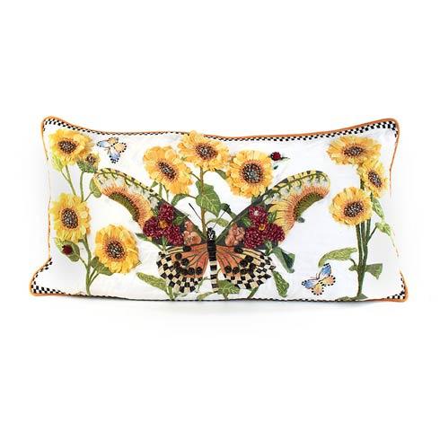 $375.00 Monarch Butterfly Lumbar Pillow - White
