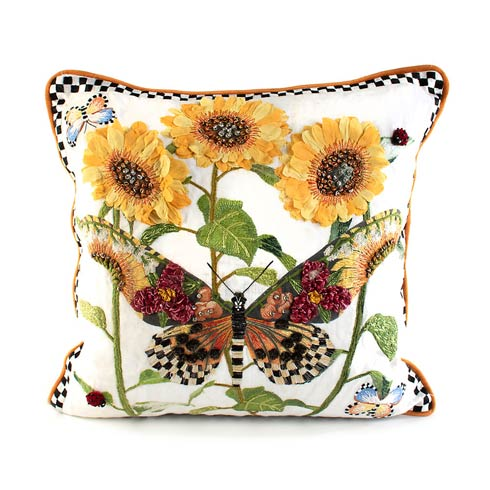 $265.00 Monarch Butterfly Square Pillow - White