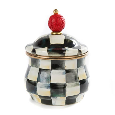 MacKenzie-Childs Courtly Check Tabletop Enamel Lidded Sugar Bowl $78.00
