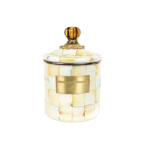 MacKenzie-Childs  Parchment Check Enamel Canister - Small $84.00