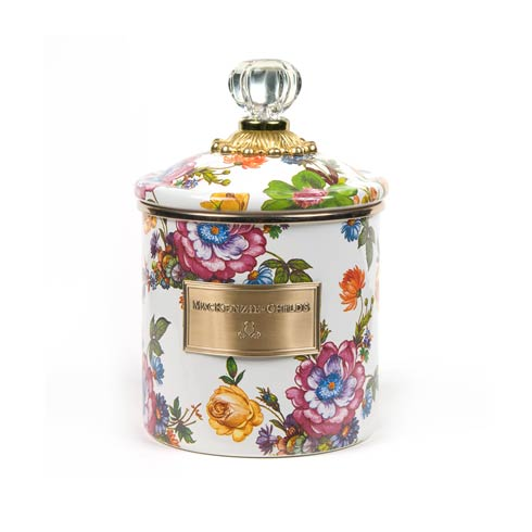 MacKenzie-Childs  Flower Market  Small Canister - White $84.00