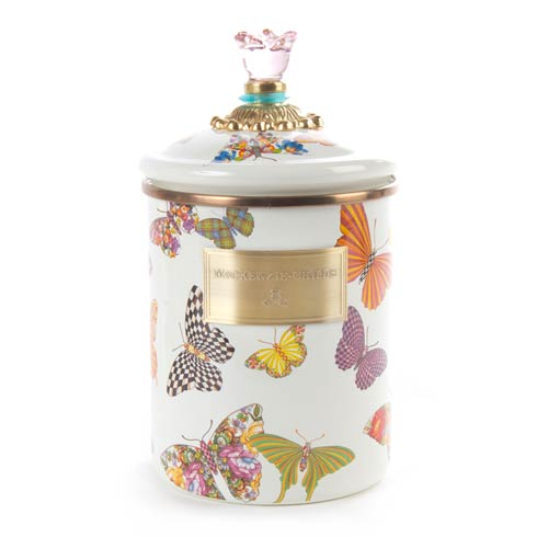 MacKenzie-Childs  Butterfly Garden Medium Canister - White $84.00
