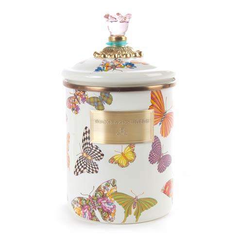 MacKenzie-Childs  Butterfly Garden Medium Canister - White $84.00