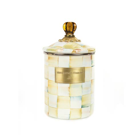 MacKenzie-Childs  Parchment Check Enamel Canister - Medium $84.00