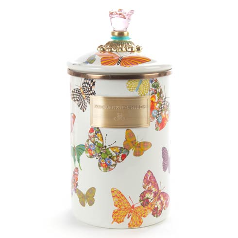 MacKenzie-Childs  Butterfly Garden Large Canister - White $88.00