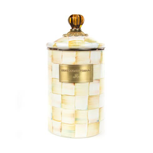 MacKenzie-Childs  Parchment Check Enamel Canister - Large $88.00