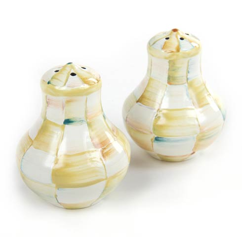 MacKenzie-Childs  Parchment Check Enamel Salt & Pepper Shakers $52.00
