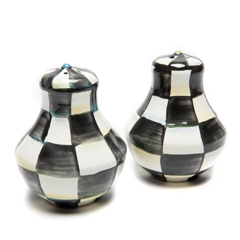 MacKenzie-Childs Courtly Check Tabletop Enamel Salt & Pepper Shakers $55.00