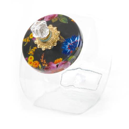 $58.00 Cookie Jar With Flower Market Enamel Lid - Black