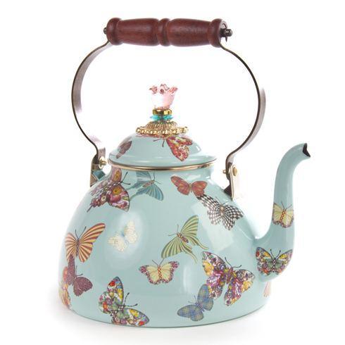 $135.00 Butterfly Garden 3 Quart Tea Kettle - Sky