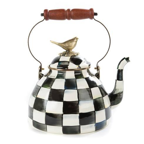MacKenzie-Childs Courtly Check Kitchen Enamel 3 Qt. Tea Kettle With Bird $158.00