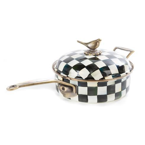 MacKenzie-Childs Courtly Check Kitchen Enamel 3 Qt. Saute Pan $185.00