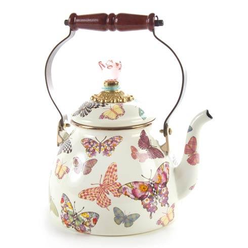 MacKenzie-Childs  Butterfly Garden 2 Quart Tea Kettle - White $110.00