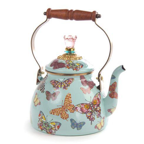 $105.00 Butterfly Garden 2 Quart Tea Kettle - Sky