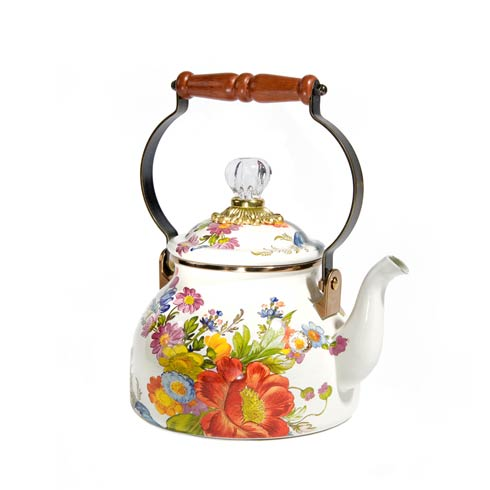 MacKenzie-Childs  Flower Market  2 Quart Tea Kettle - White $110.00