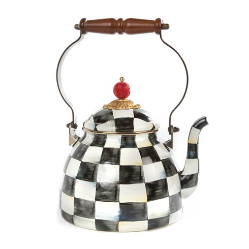 MacKenzie-Childs Courtly Check Tabletop Enamel Tea Kettle - 2 Quart $125.00