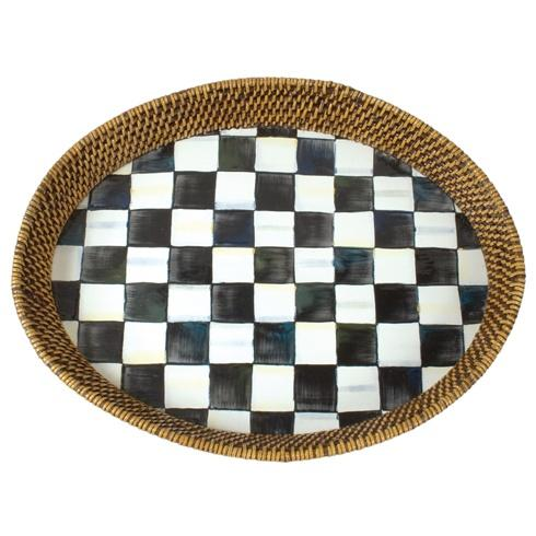 MacKenzie-Childs Courtly Check Tabletop Rattan & Enamel Tray - Large $88.00