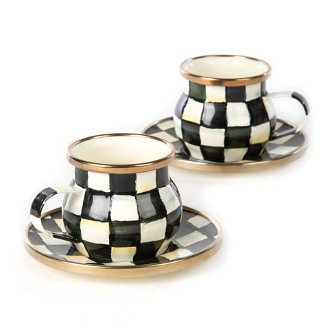 MacKenzie-Childs Courtly Check Tabletop Enamel Espresso Cup & Saucer Set $92.00