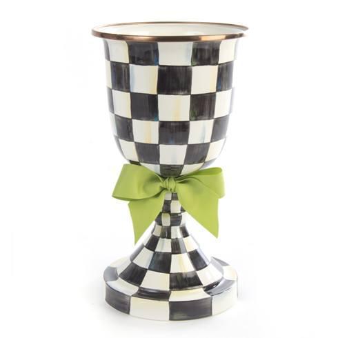MacKenzie-Childs Courtly Check Decor Enamel Pedestal Vase - Green Bow $135.00