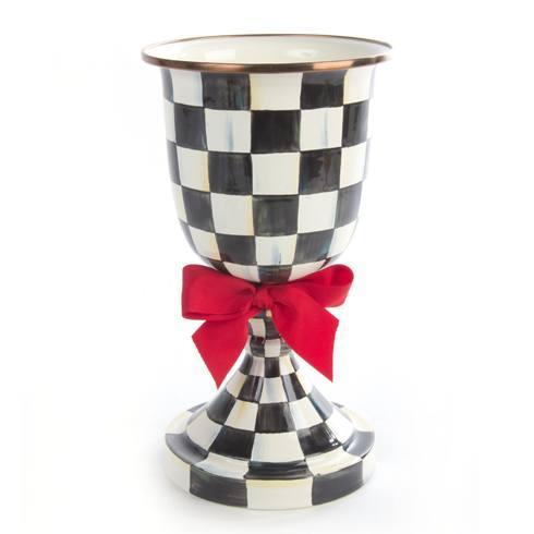 MacKenzie-Childs Courtly Check Decor Enamel Pedestal Vase - Red Bow $120.00
