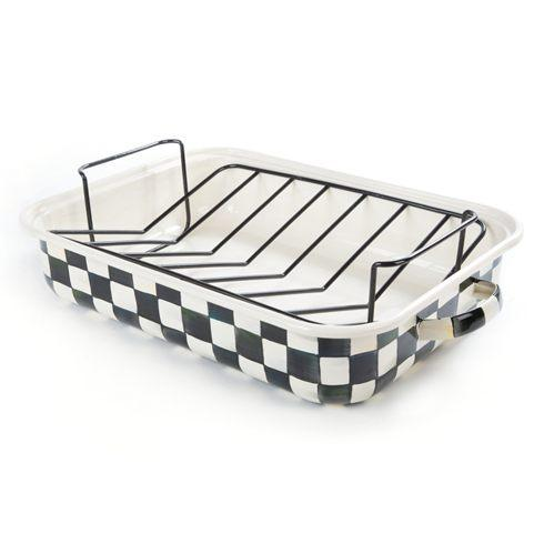 MacKenzie-Childs Courtly Check Kitchen Enamel Roasting Pan With Rack $145.00