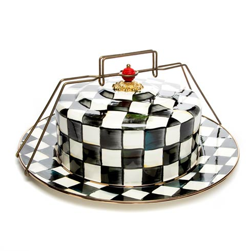 MacKenzie-Childs Courtly Check Tabletop Enamel Cake Carrier $195.00